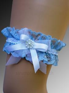 Jarretière bleue/blanche
